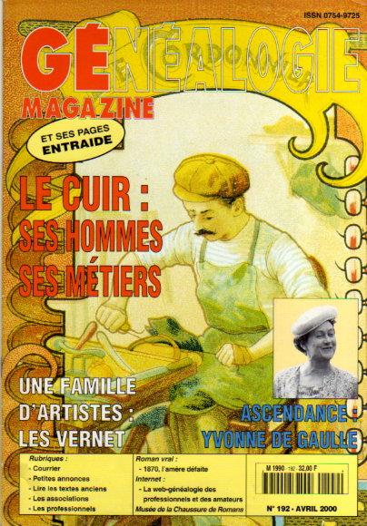Généalogie Magazine n° 192 - avril 2000