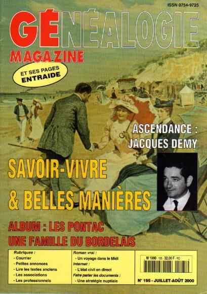 Généalogie Magazine n° 195 - juillet - août 2000