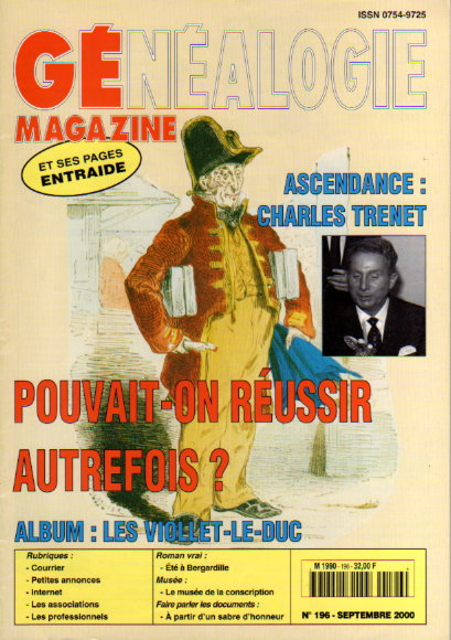 Généalogie magazine n° 196 - septembre 2000