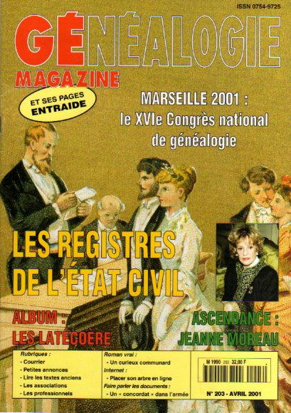 Généalogie Magazine n° 203 - avril 2001