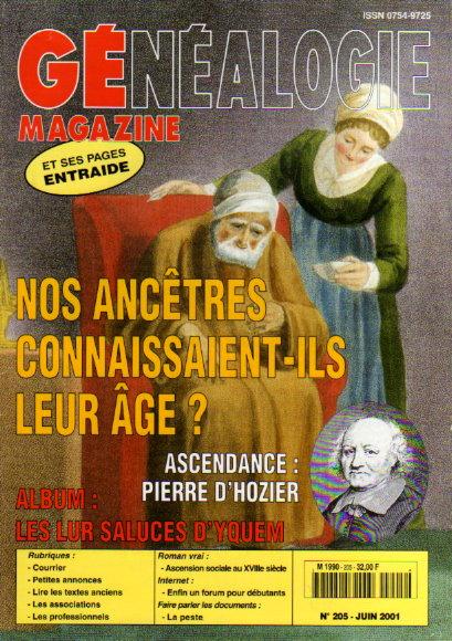 Généalogie Magazine n° 205 - juin 2001