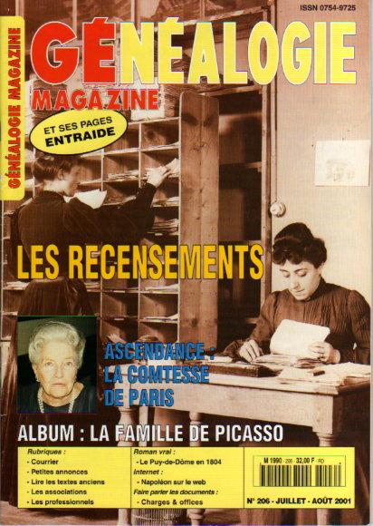 Généalogie Magazine n° 206 - juillet - août 2001