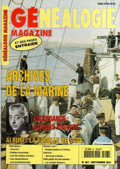 Généalogie Magazine n° 207 - septembre 2001