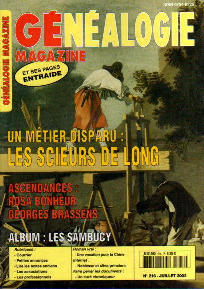 Généalogie magazine n° 216 - juillet 2002