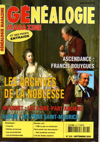 Généalogie magazine n° 218 - septembre 2002