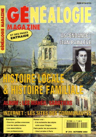 Généalogie magazine n° 219 - octobre 2002