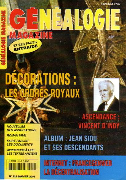 Généalogie Magazine n° 222 - janvier 2003