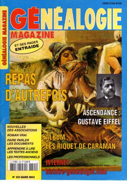 Généalogie Magazine n° 224 - mars 2003