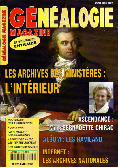 Généalogie Magazine n° 225 - avril 2003