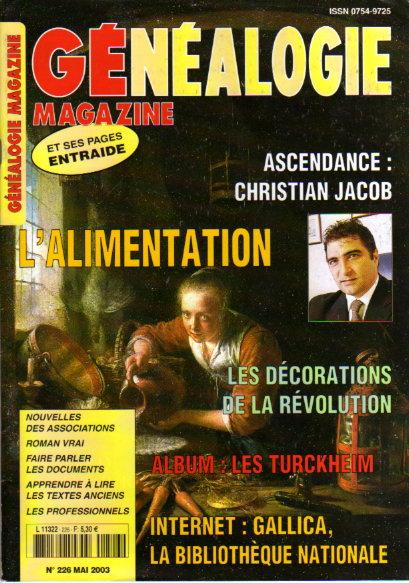 Généalogie Magazine n° 226 - mai 2003