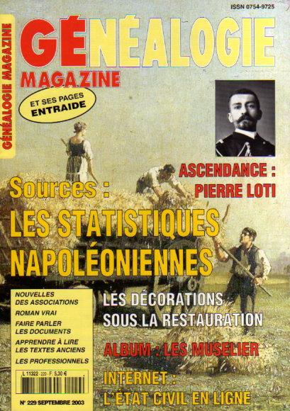 Généalogie Magazine n° 229 - septembre 2003