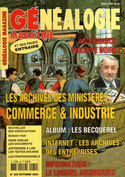 Généalogie Magazine n° 230 - octobre 2003