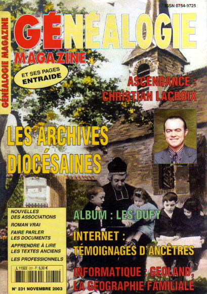Généalogie Magazine n° 231 - novembre 2003