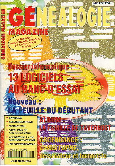 Généalogie Magazine n° 257 - mars 2006