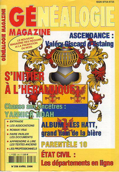 Généalogie Magazine n° 258 - avril 2006