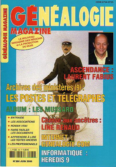 Généalogie Magazine n° 260 - juin 2006