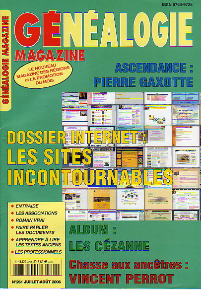Généalogie Magazine n° 261 – juillet-août 2006
