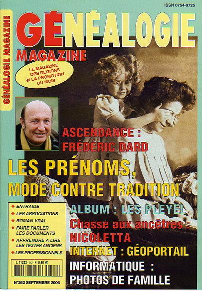 Généalogie Magazine n° 262 - septembre 2006
