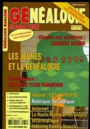 Généalogie Magazine n° 273 – Septembre 2007