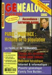Généalogie Magazine n° 274 – Octobre 2007